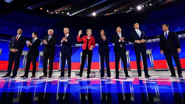 PHOTO: Democratic presidential hopefuls stand onstage ahead of the third Democratic primary debate of the 2020 presidential campaign season hosted by ABC News in partnership with Univision at Texas Southern University in Houston on Sept. 12, 2019. (Frederic J. Brown/AFP/Getty Images)