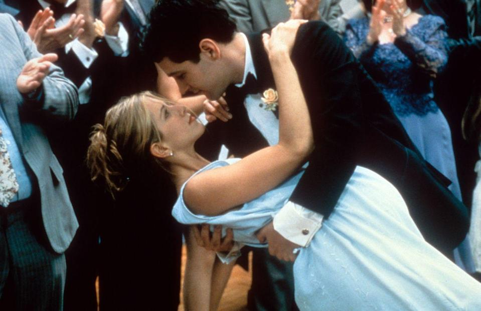 """<p>Most people assume that every on-screen couple dates off-screen, too. That was not the case for Jen and rom com stunner Paul Rudd. The pair starred in the 1998 film <em>The Object of My Affection</em>, but <a href=""""https://www.usmagazine.com/celebrity-news/pictures/jennifer-anistons-dating-history-timeline-of-her-famous-exes/brad-pitt-5/"""" rel=""""nofollow noopener"""" target=""""_blank"""" data-ylk=""""slk:their love for each other remained set"""" class=""""link rapid-noclick-resp"""">their love for each other remained set</a>.<br></p>"""