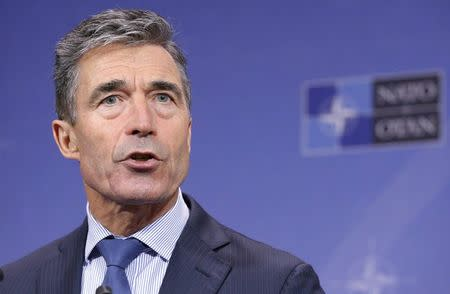 NATO Secretary General Rasmussen addresses a news conference during a NATO foreign ministers meeting in Brussels