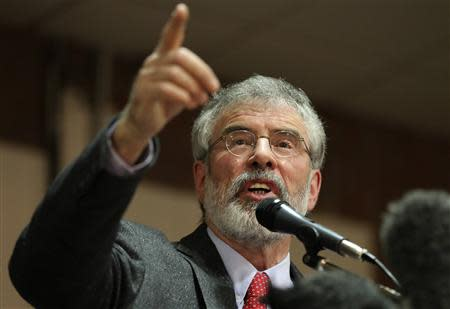 Sinn Fein president Gerry Adams speaks at an election rally in Belfast