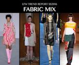 <p>It's not enough to mix your prints, you need to mix fabrics these days. As fashion gets more high tech, designers like Ryan Lo and Toga are splicing disparate times like embroidered lace with tulle and chiffon and beading with PVC. Photo: IMAXtree</p>