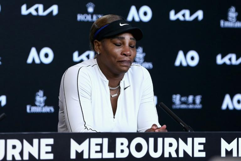 Serena Williams gives a press conference after losing to Osaka in the Australian Open semis in February