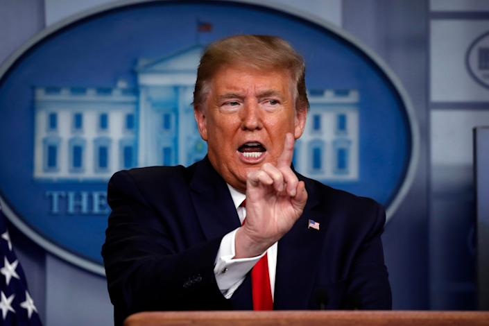 President Donald Trump led a combative coronavirus news briefing late Monday in the James Brady Press Briefing Room at the White House.