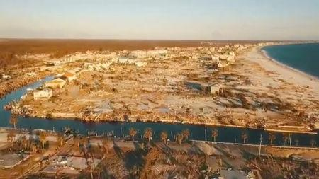 Aerial footage taken by a drone shows the damage after Hurricane Michael in Mexico Beach, Florida, U.S., October 14, 2018 in this still image taken from social media video. Palm Beach County Sheriff's Office via REUTERS