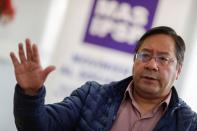 Luis Arce, the presidential candidate of the Movement to Socialism party (MAS), speaks during an interview with Reuters in La Paz