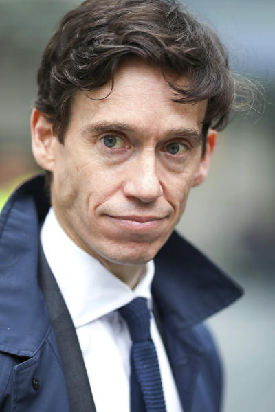British Conservative party leadership contender Rory Stewart arrives for a live TV debate in central London Tuesday, June 18, 2019.  Britain's Conservative Party is holding a contest to replace Prime Minister Theresa May, and party legislators will continue to hold elimination votes until the final two contenders will be put to a vote of Conservative Party members nationwide, with the winner due to become Conservative Party leader and prime minister.  (AP Photo/Vudi Xhymshiti)