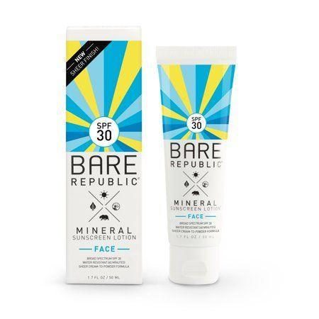 """<p><strong>Bare Republic</strong></p><p>walmart.com</p><p><strong>$18.49</strong></p><p><a href=""""https://go.redirectingat.com?id=74968X1596630&url=https%3A%2F%2Fwww.walmart.com%2Fip%2F346451457&sref=https%3A%2F%2Fwww.goodhousekeeping.com%2Fbeauty-products%2Freviews%2Fg2487%2Fbest-sunscreen-for-face-reviews%2F"""" rel=""""nofollow noopener"""" target=""""_blank"""" data-ylk=""""slk:Shop Now"""" class=""""link rapid-noclick-resp"""">Shop Now</a></p><p>A more affordable mineral titanium dioxide and zinc oxide option, the milky Bare Republic SPF aced the GH Beauty Lab's test for not inflaming skin. <strong>The sunscreen scored perfectly for being gentle and nonirritating</strong>. The """"velvety,"""" """"satiny"""" liquid went on like a """"light,"""" """"dry oil,"""" testers said. """"No stinging or bumps."""" Good to know: The tube has to be shaken before application so the formula won't separate when dispensed. </p>"""