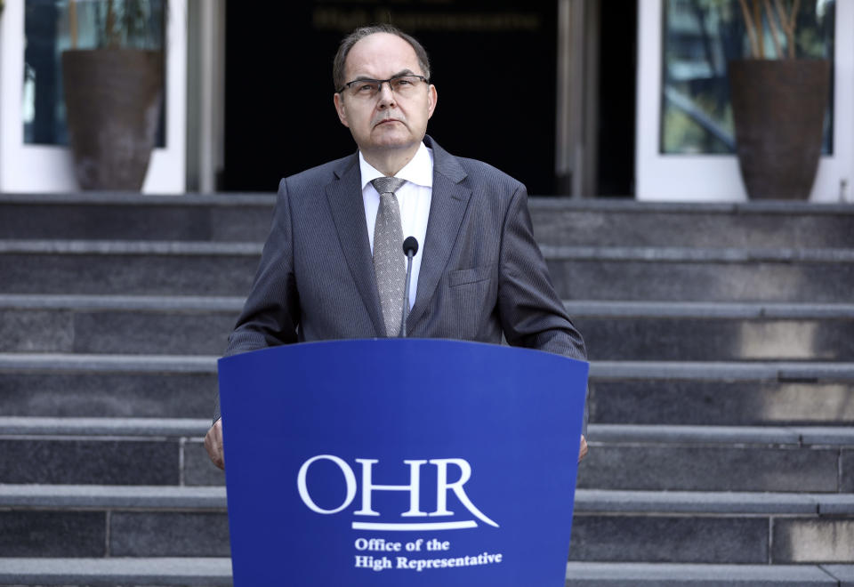 Christian Schmidt, new head of Bosnia's Office of the High Representative, or OHR, speaks during a ceremony in the capital Sarajevo, Bosnia, Monday, Aug. 2, 2021. Schmidt on Monday took office as the top international official in Bosnia, amid tensions with the country's Serbs who have rejected both his appointment and a ban on genocide denial brought by his predecessor. (AP Photo)