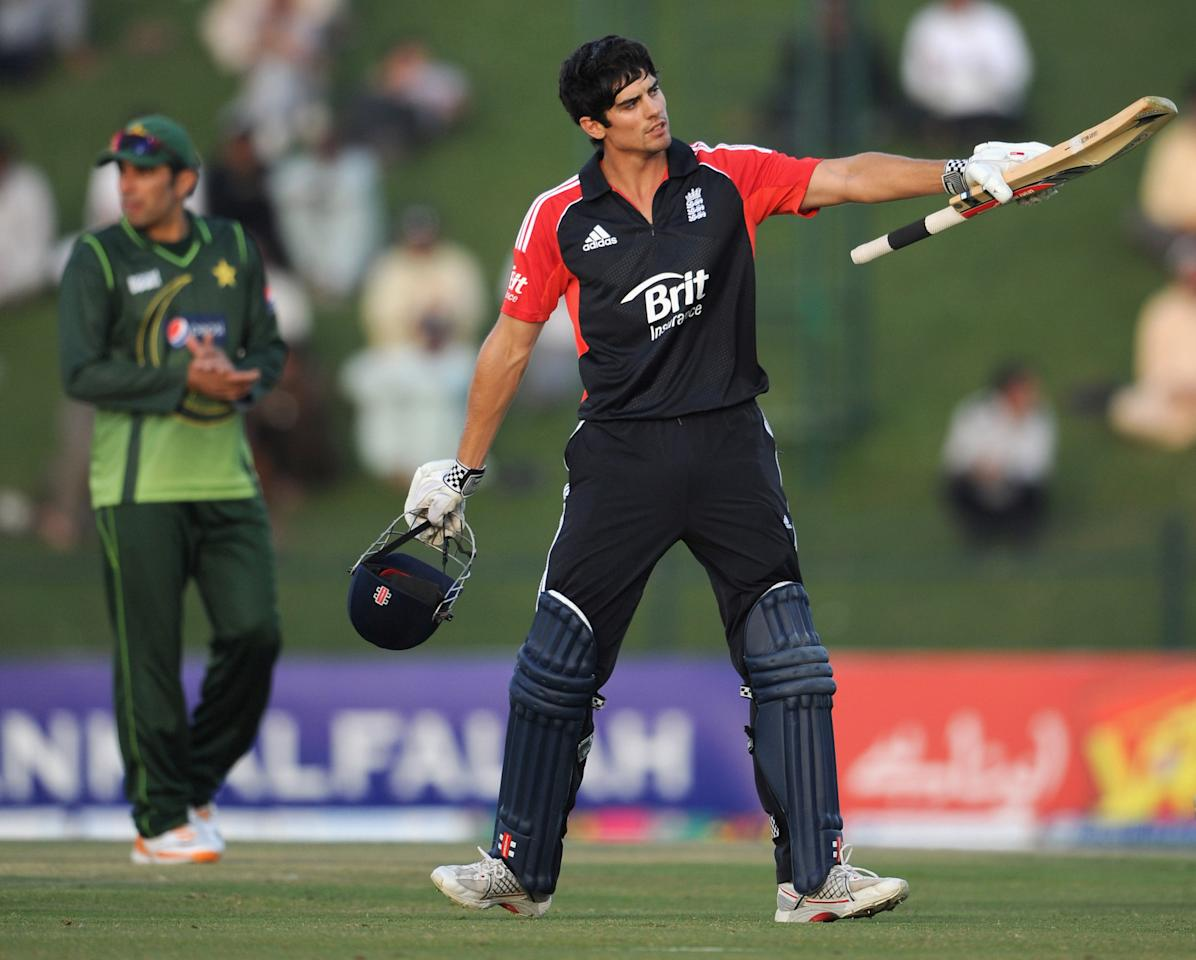 ABU DHABI, UNITED ARAB EMIRATES - FEBRUARY 15:  England captain Alastair Cook celebrates reaching his century during the 2nd One Day International between Pakistan and England at Sheikh Zayed Stadium on February 15, 2012 in Abu Dhabi, United Arab Emirates.  (Photo by Gareth Copley/Getty Images)
