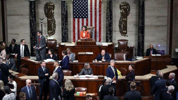PHOTO: Speaker of the House Nancy Pelosi presides over the U.S. House of Representatives as it votes on a resolution formalizing the impeachment inquiry centered on President Donald Trump in the House Chamber, Oct.31, 2019 in Washington, D.C. (Win Mcnamee/Getty Images)