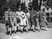 <p>Structured suit dresses, featuring structured shoulders, belted waists, and A-line skirts, were everywhere in the '40s. Due to wartime rations, there was also an emphasis on repurposing clothing. <br></p>