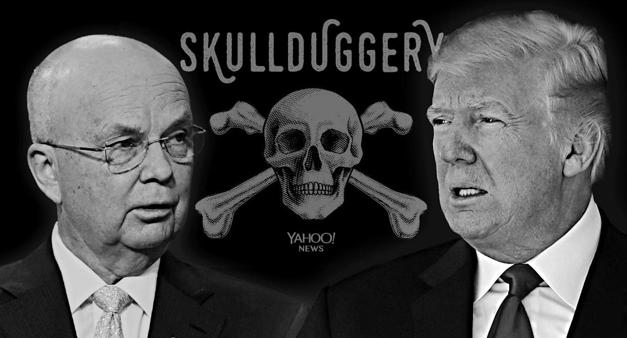Michael Hayden, Donald Trump (Photo illustration: Yahoo News; photos: David Orrell/CNBC/NBCU Photo Bank via Getty Image, Evan Vucci/AP)