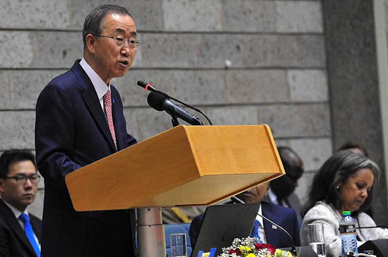 UN Secretary General Ban Ki-moon, seen here on October 30, 2014 at the UN complex in Nairobi, urged men and boys to join the fight against female genital mutilation (AFP Photo/Simon Maina)