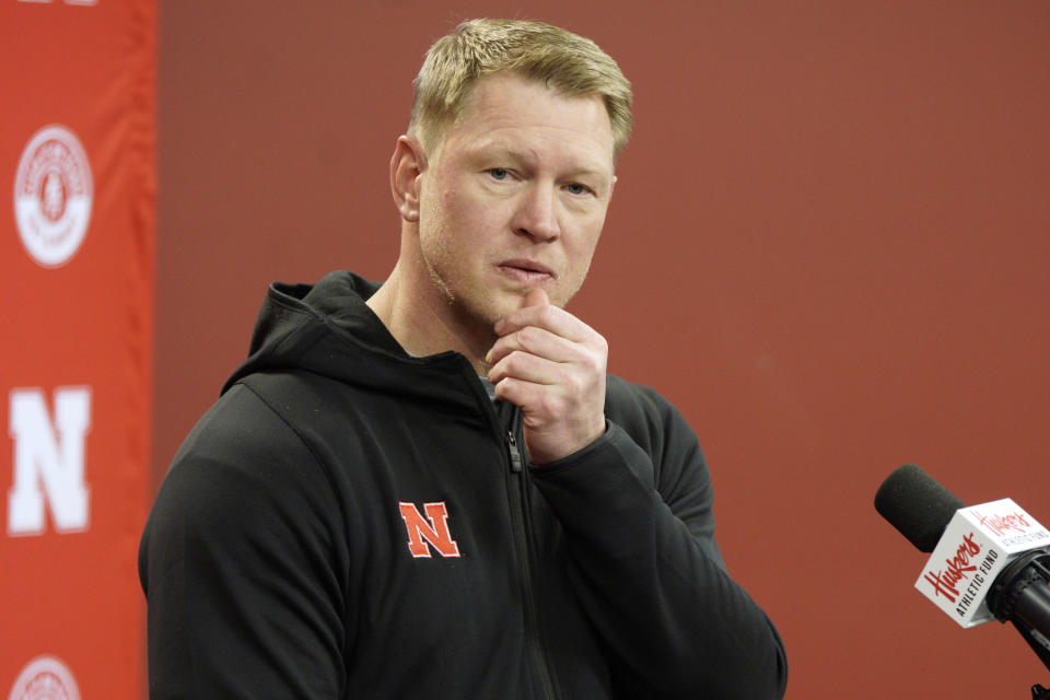 FILE - Nebraska head coach Scott Frost listens to a question during a news conference on the first day of NCAA college football spring practice in Lincoln, Neb., in this Monday, March 9, 2020, file photo. The Huskers are on their longest streak of losing seasons (four) since the six in a row from 1956-61. (AP Photo/Nati Harnik, File)