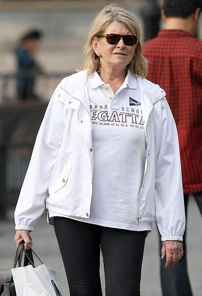 """50899778 Martha Stewart seen holding her stomach after the Harbor School Regatta boat race in New York City, New York on September 27, 2012. Se tweeted """"@MarthaStewart: Our Boat Intrepid actually won the regatta race. Hooray!!"""" FameFlynet, Inc - Beverly Hills, CA, USA -  1 (818) 307-4813 RESTRICTIONS APPLY: USA ONLY"""