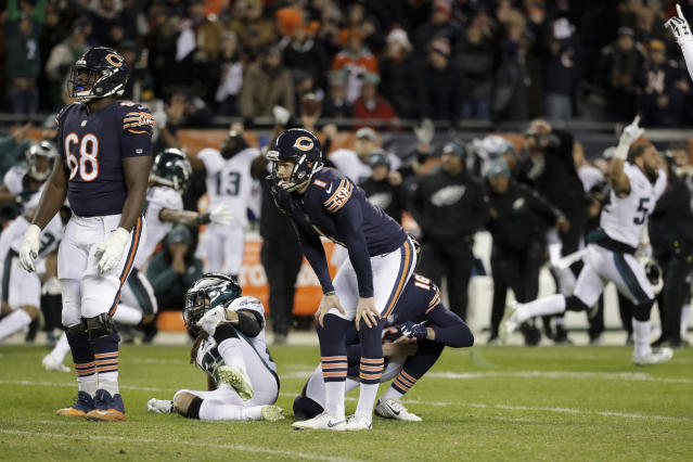 Chicago Bears kicker Cody Parkey (1) reacts after missing a field goal in the closing minute during the second half of an NFL wild-card playoff football game against the Philadelphia Eagles Sunday, Jan. 6, 2019, in Chicago. The Eagles won 16-15. (AP Photo/Nam Y. Huh)