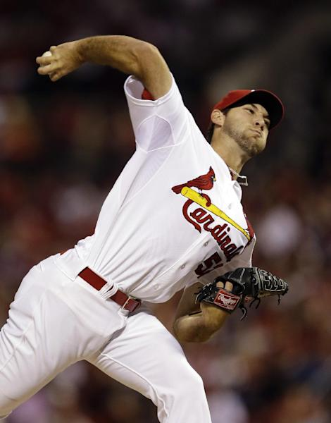 St. Louis Cardinals starting pitcher Michael Wacha throws against the Washington Nationals during the first inning of a baseball game on Tuesday, Sept. 24, 2013, in St. Louis. (AP Photo/Jeff Roberson)