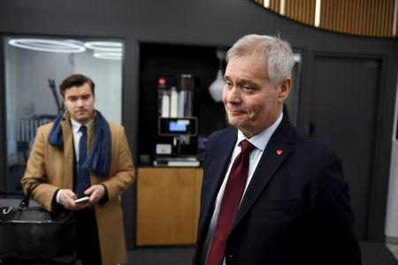 Chairman of The Social Democratic Party Antti Rinne speaks to media at the Finnish Broadcasting Company Yle studios in Helsinki, Finland April 15, 2019. Lehtikuva/Antti Aimo-Koivisto via REUTERS
