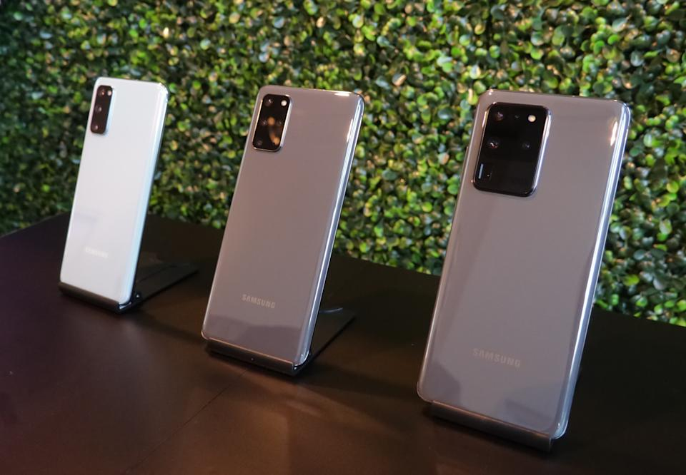The Samsung Galaxy S20 lineup includes (from left to right) the S20, the S20+, and the S20 Ultra. (Image: Howley)