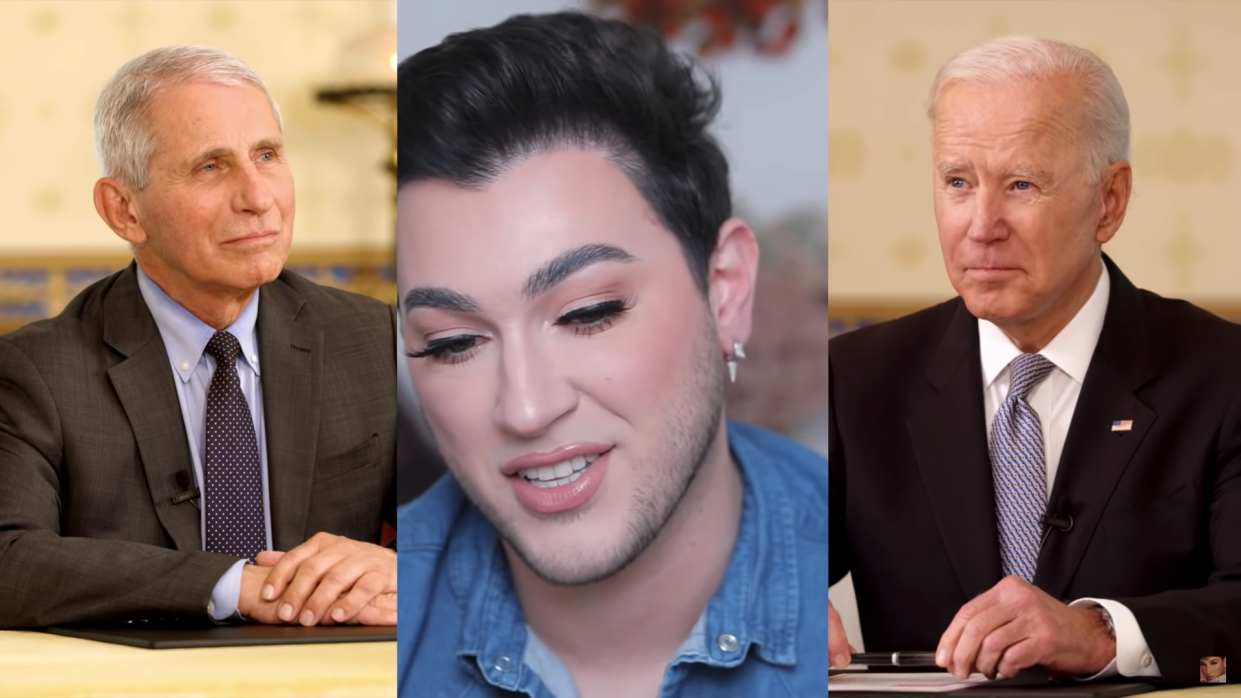 Manuel Gutierrez Jr. of MannyMUA speaks with Dr. Anthony Fauci and President Joe Biden during President Biden's Youtube Town Hall on COVID-19 Vaccination (Manny Mua/Youtube)