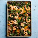 "<p>For this easy sheet-pan dinner, beets get a head start in the oven while you prep the shrimp and kale. For a prettier presentation, leave the shrimp tails intact. Serve this one-pan recipe with a cool glass of rosé. <a href=""http://www.eatingwell.com/recipe/262739/sheet-pan-shrimp-beets/"" rel=""nofollow noopener"" target=""_blank"" data-ylk=""slk:View recipe"" class=""link rapid-noclick-resp""> View recipe </a></p>"