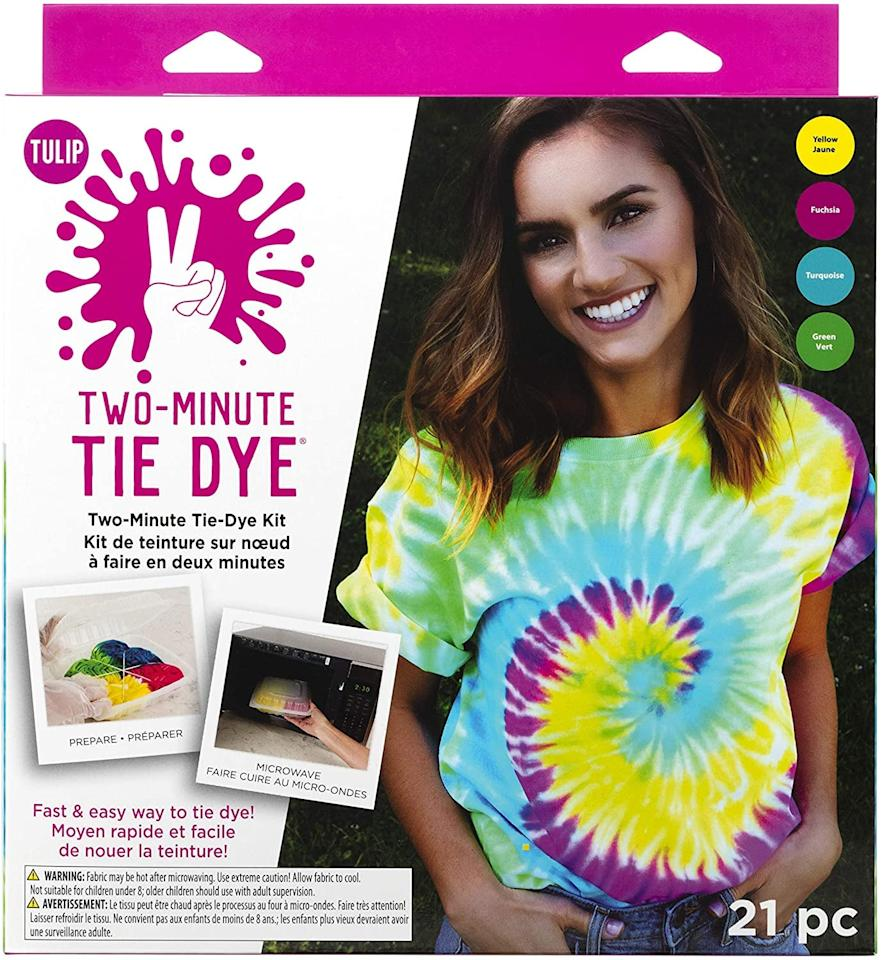 """<p>This <a href=""""https://www.popsugar.com/buy/Tulip-One-Step-Tie-Dye-Kit-586138?p_name=Tulip%20One-Step%20Tie-Dye%20Kit&retailer=amazon.com&pid=586138&price=13&evar1=savvy%3Auk&evar9=47587084&evar98=https%3A%2F%2Fwww.popsugar.com%2Fsmart-living%2Fphoto-gallery%2F47587084%2Fimage%2F47587088%2FTulip-One-Step-Tie-Dye-Kit&list1=shopping%2Camazon%2Csummer%2Ctie%20dye%2Cstaying%20home&prop13=api&pdata=1"""" rel=""""nofollow"""" data-shoppable-link=""""1"""" target=""""_blank"""" class=""""ga-track"""" data-ga-category=""""Related"""" data-ga-label=""""https://www.amazon.com/Tulip-One-Step-Tie-Dye-Kit-43189/dp/B07ZB2PGG3?ref_=ast_sto_dp"""" data-ga-action=""""In-Line Links"""">Tulip One-Step Tie-Dye Kit</a> ($13) couldn't be easier to use; it tie-dyes in just two minutes.</p>"""