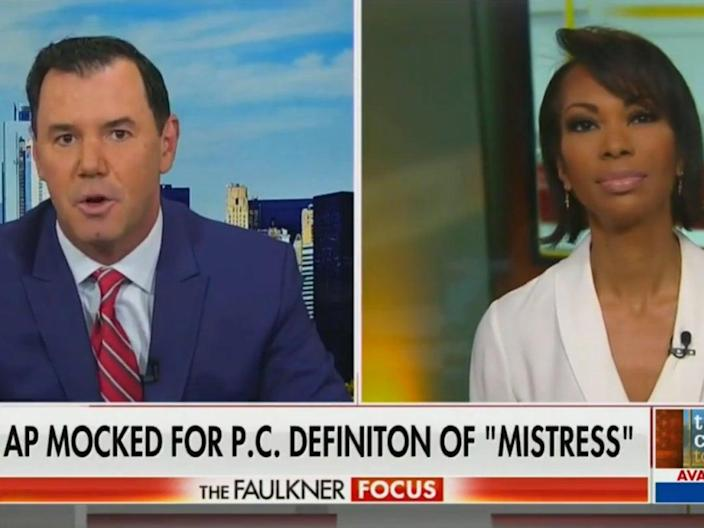 <p>During a segment on Fox's The Faulkner Focus on Wednesday, anchor Harris Faulkner and contributor Joe Concha condemned The Associated Press' guidance against using the word 'mistress'</p> (Fox News)
