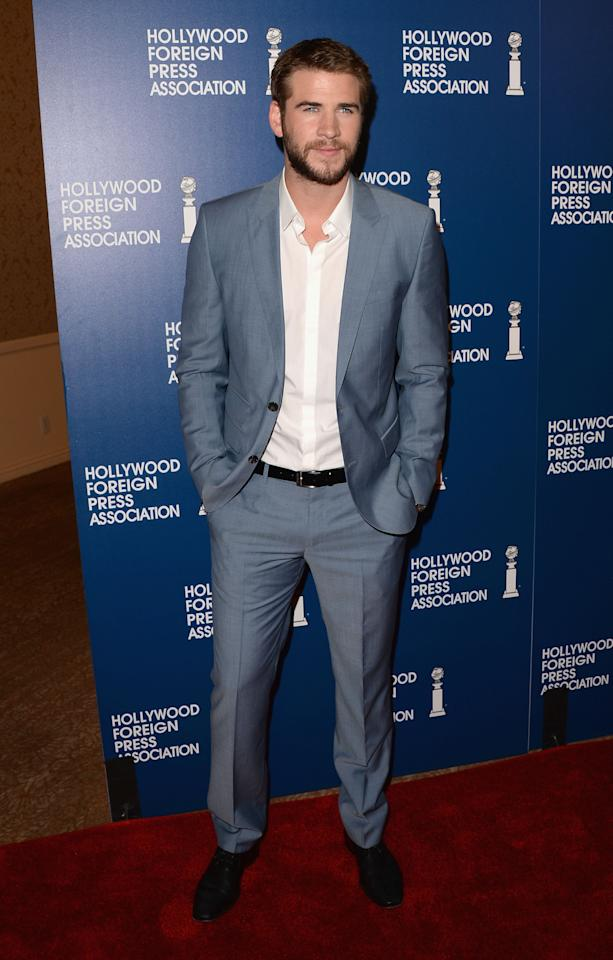 BEVERLY HILLS, CA - AUGUST 13:  Actor Liam Hemsworth attends Hollywood Foreign Press Association's 2013 Installation Luncheon at The Beverly Hilton Hotel on August 13, 2013 in Beverly Hills, California.  (Photo by Jason Merritt/Getty Images)