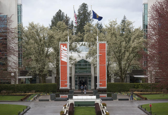 The main entrance of the Nike headquarters in Beaverton, Oregon. (Getty Images)