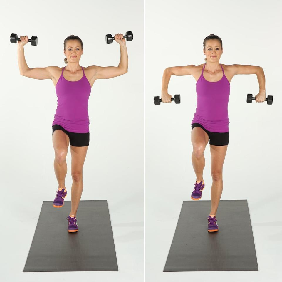 <ul> <li>Stand on your left leg, and lift your right knee up until it is level with your hip. Holding a dumbbell in each hand, raise your arms out to the sides until your upper arms are parallel to the ground. Bend your elbows to 90 degrees.</li> <li>Maintaining a strong sense of balance, rotate your upper arms forward to bring your fists to the floor, then rotate your upper arms backward to bring your fists up. Do not lower or raise your upper arms; keep them parallel to the floor. </li> <li>This completes one rep.</li> </ul>