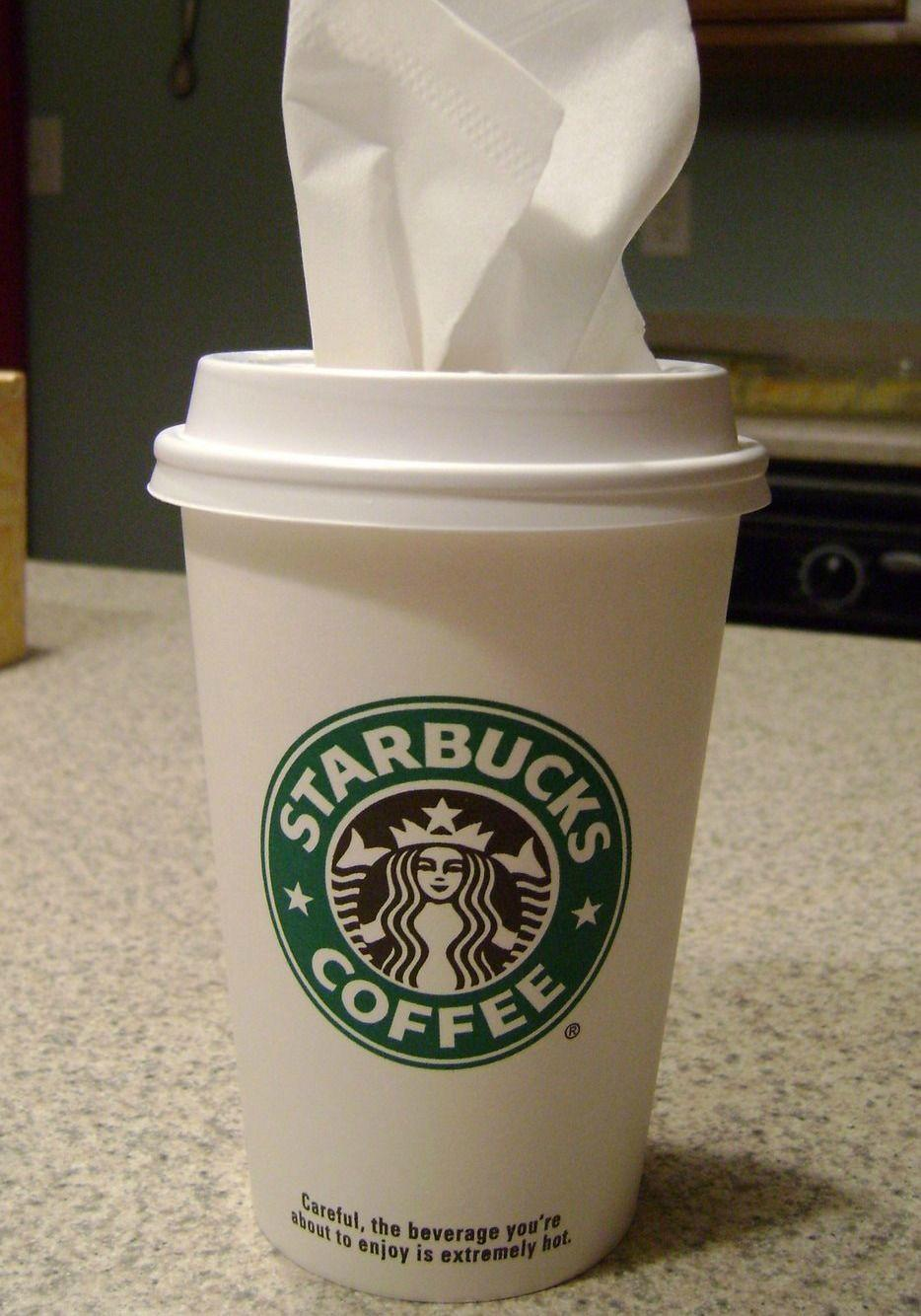 """<p>A to-go coffee cup (an unused one, please) filled with tissues means you can get that cardboard box off the floor for good.</p><p><a href=""""http://www.infarrantlycreative.net/project-8-two-mini-projects/"""" rel=""""nofollow noopener"""" target=""""_blank"""" data-ylk=""""slk:See more at Infarrantly Creative »"""" class=""""link rapid-noclick-resp""""><em>See more at Infarrantly Creative »</em></a></p>"""