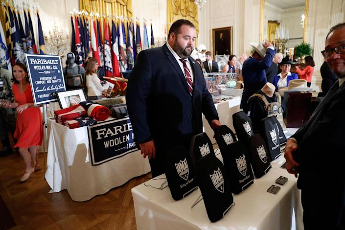"""<p>Items are displayed during a """"Made in America,"""" product showcase featuring items created in each of the U.S. 50 states, Monday, July 17, 2017, in the East Room of the White House in Washington. (AP Photo/Alex Brandon) </p>"""