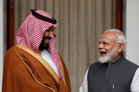 FILE PHOTO: Saudi Crown Prince Mohammed bin Salman and Indian Prime Minister Narendra Modi meet at Hyderabad House in New Delhi, India, February 20, 2019. REUTERS/Adnan Abidi/File Photo