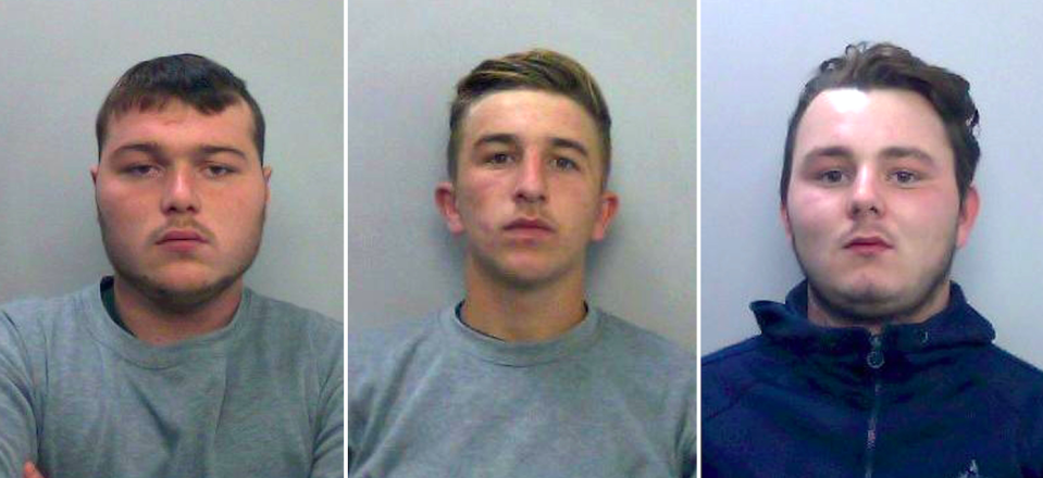 Henry Long (left) Jessie Cole (middle) and Albert Bowers (right) were cleared of murdering Pc Andrew Harper. (PA)