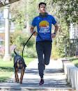 <p>Wells Adams jogs with his dog in L.A. on Thursday.</p>