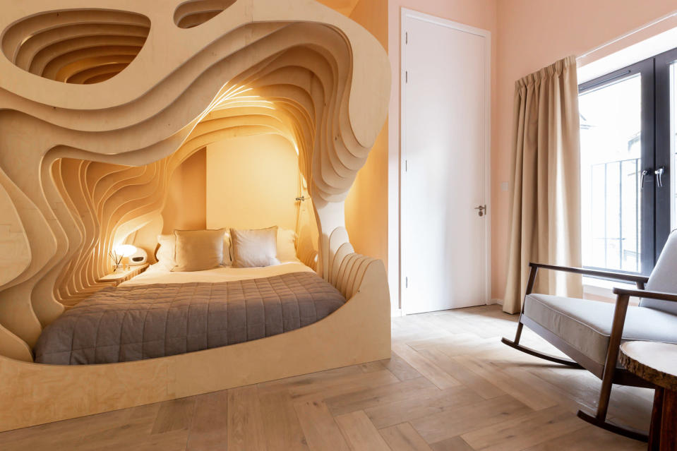 The room's womb-inspired interiors is designed to make guests feel safe and secure [Photo: Billy Bolton]
