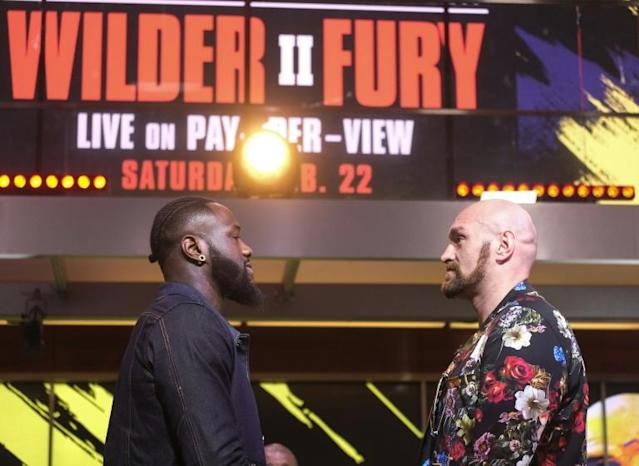 World champion Deontay Wilder (L) doubts Tyson Fury (R) possesses the punching power to knock him out in their February 22 rematch (AFP Photo/RINGO CHIU)