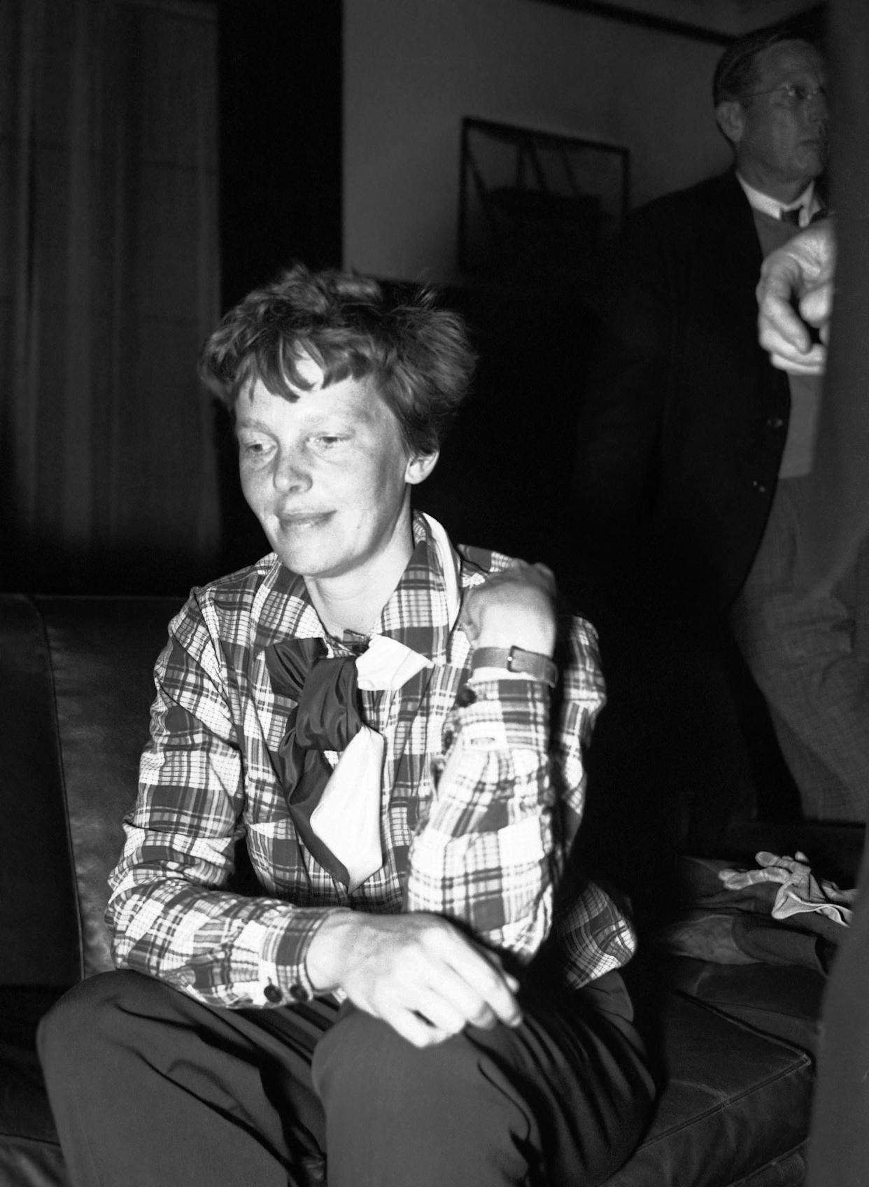 FILE - In this undated photo, Amelia Earhart is shown. A $2.2 million expedition that hoped to find wreckage from famed aviator Amelia Earhart's final flight is on its way back to Hawaii without the dramatic, conclusive plane images searchers were hoping to attain. But the group leading the search, The International Group for Historic Aircraft Recovery, still believes Earhart and her navigator crashed onto a reef off a remote island in the Pacific Ocean 75 years ago this month, its president told The Associated Press on Monday, July 23, 2012. (AP Photo, File)