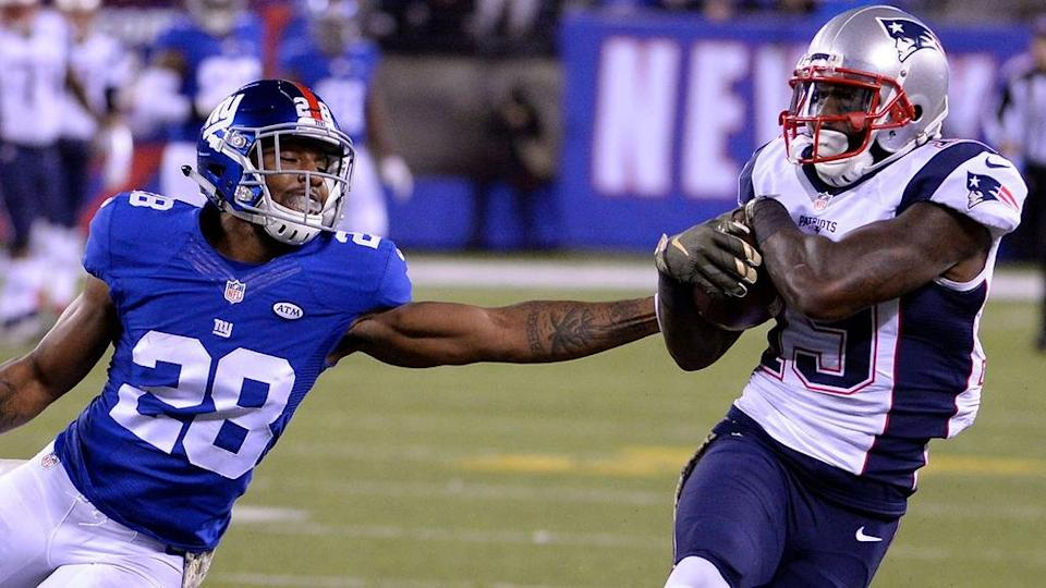 Nov 15, 2015; East Rutherford, NJ, USA; New England Patriots wide receiver Brandon LaFell (19) catches a pass against New York Giants cornerback Jayron Hosley (28) in the second half during the game at MetLife Stadium.
