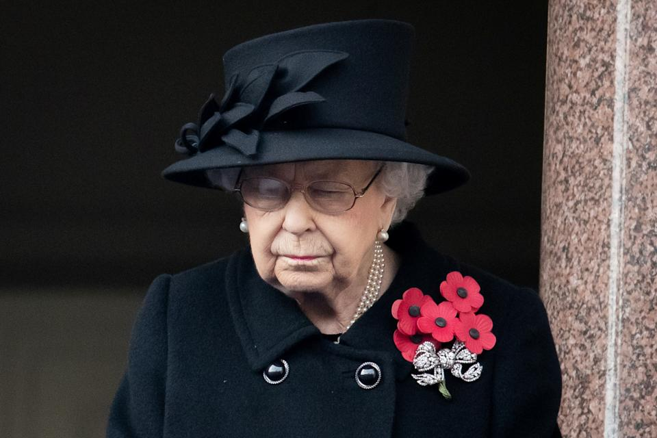 Britain's Queen Elizabeth attends the National Service of Remembrance at The Cenotaph on Whitehall in London, Britain November 8, 2020. Aaron Chown/PA Wire/Pool via REUTERS