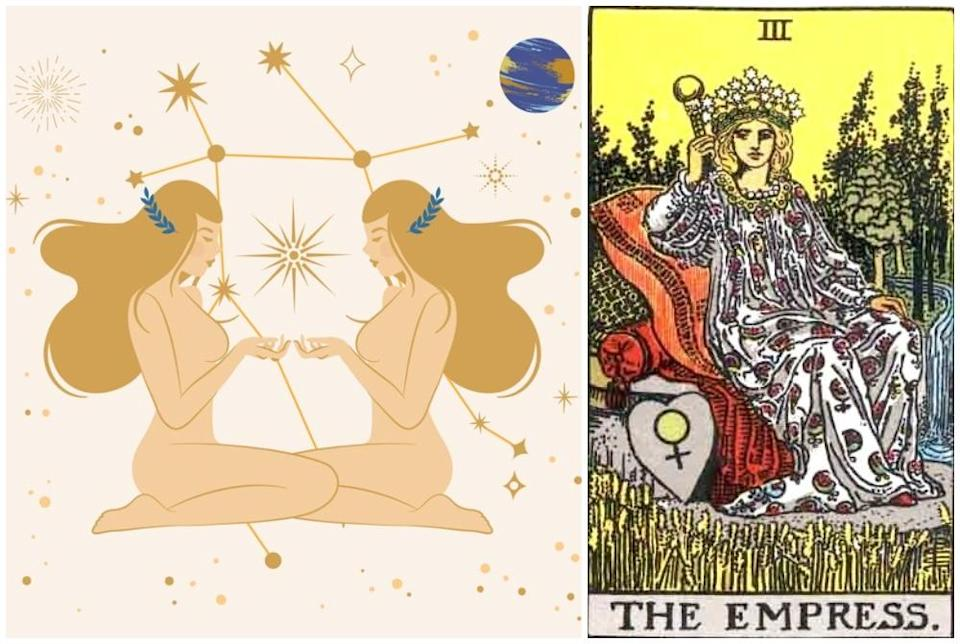 Gemini star sign, at left and Empress card, at right. Photos: Mixkit, Wikimedia Commons
