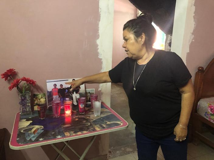 "Rosa Alba Santoya Soria in her home in Irapuato. Three of her sons were killed in the attack on the drug rehab center. <span class=""copyright"">(Cecilia Sanchez / For The Times)</span>"