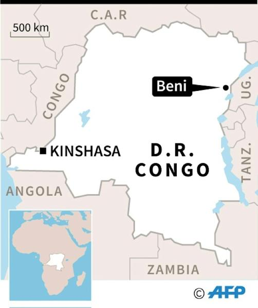Map locating Beni in the Democratic Republic of Congo, where UN peacekeeping troops have been killed in fighting with a rebel militia