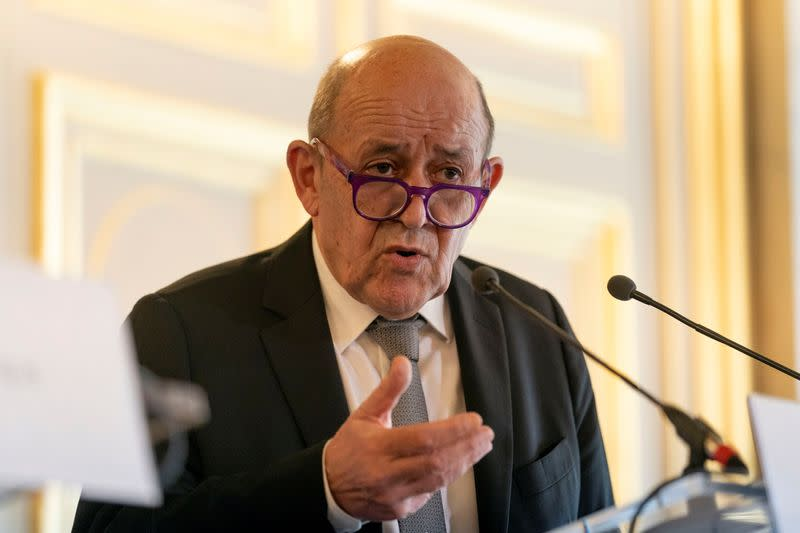 U.S. Secretary of State Antony Blinken, meets with French Foreign Affairs Minister Jean-Yves Le Drian at the French Ministry of Foreign Affairs in Paris