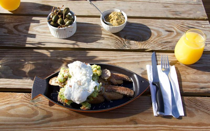 A breakfast of ingredients sourced on the property, including poached eggs on avocado toast. | Hernan F. Rodriguez