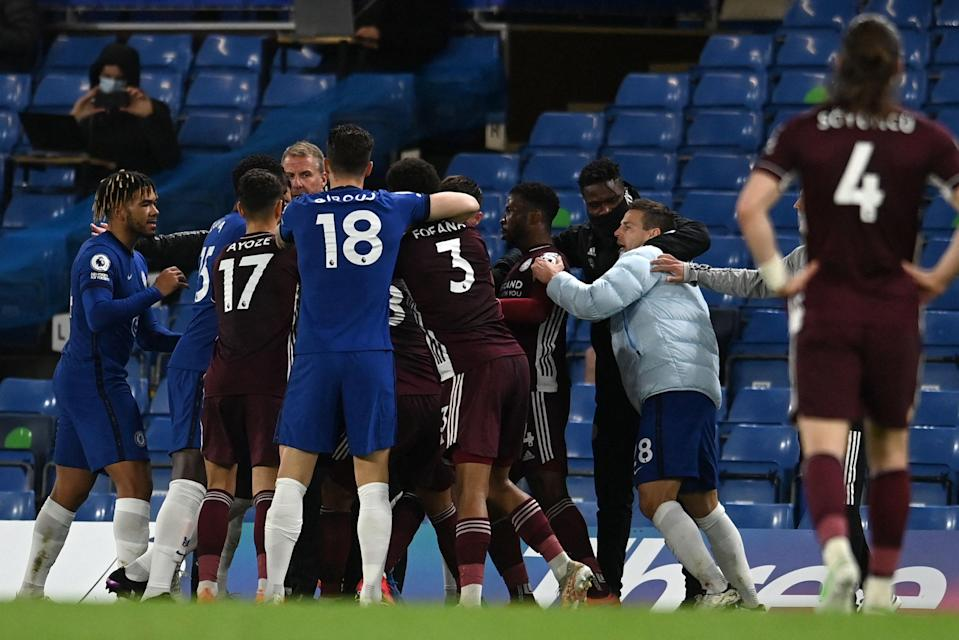 <p>Daniel Amartey was booked following a touchline row</p> (POOL/AFP via Getty Images)