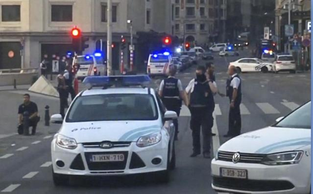 <p>In this image taken from video, police cars block a road near the train station in central Brussels, Tuesday June 20, 2017. Belgian media report that explosion-like noises have been heard at a Brussels train station; the main square evacuated. (AP Photo) </p>
