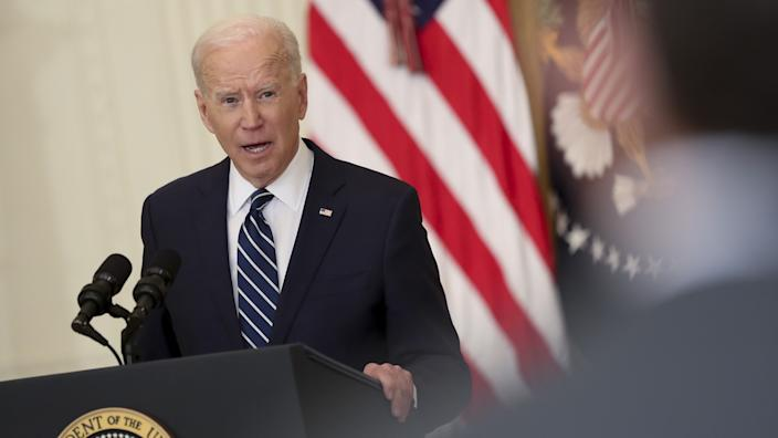 U.S. President Joe Biden speaks during a news conference in the East Room of the White House in Washington, D.C., U.S., on Thursday, March 25, 2021. (Oliver Contreras/Sipa/Bloomberg via Getty Images)