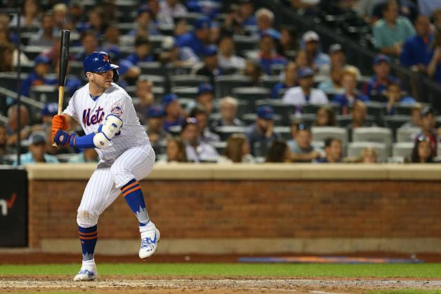 Pete Alonso of the New York Mets in action against the Chicago Cubs during a game at Citi Field on August 27, 2019 in New York City. (Rich Schultz/Getty Images)