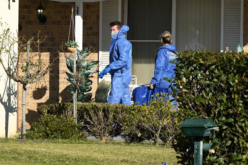 NSW Police establish a crime scene at a home at St Clair in Sydney. Source: AAP